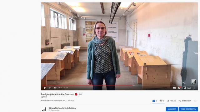 Testlauf der Live-Online-Führung durch die Gedenkstätte Bautzen auf dem Stiftungs-YouTube-Kanal