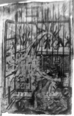 Volkspolizisten gehen mit Feuerlöschspritzen gegen die Aufständischen vor (Anonyme Häftlingszeichnung, 1950)