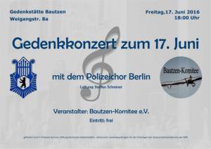 Gedenkkonzert zum Volksaufstand am 17. Juni 1953 mit dem Polizeichor Berlin in der Gedenkstätte Bautzen