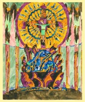 """Paul Goesch, """"Altar"""" (Ende 1920/Anfang 1921)Gouache auf Papier. Besitz des """"Freu"""