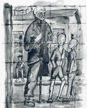 Foto: Künstlerische Darstellung von Kindern im Speziallager | Helmuth Dommain, E