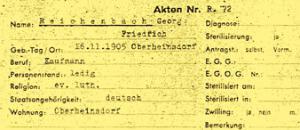 Auszug aus der Patientenkarteikarte von Friedrich Reichenbach